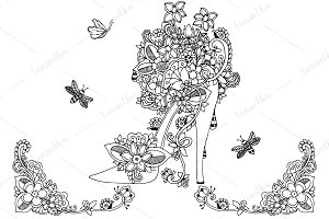 Doodle female shoes flowers.