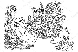 Doodle Turtle pointer happy flowers