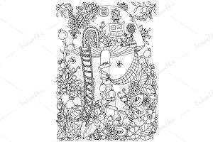 Doodle house mushroom, flowers
