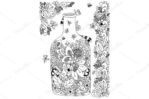 Doodle with floral bottle