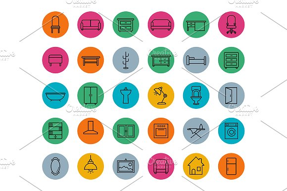 House furniture. 30 icons. Vector - Icons