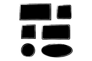 Black ink grunge frames. Vector