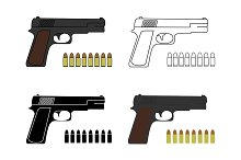9mm pistols set with bullets. Vector