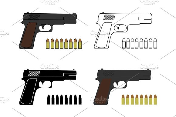 9mm pistols set with bullets. Vector - Illustrations