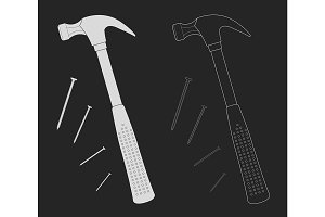 Claw hammer with steel nails. Vector