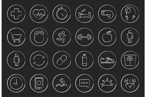 Fitness linear icons set. Vector