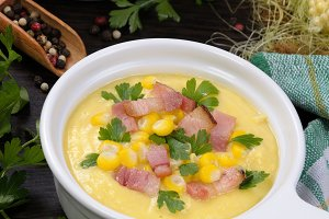 Puree soup with corn