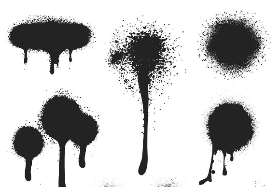 Spray paint vector set