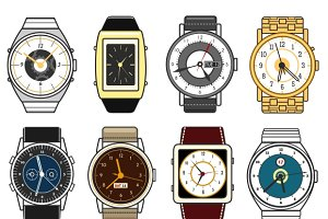 Vector hand watches on white