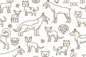 Vector doodle pets pattern