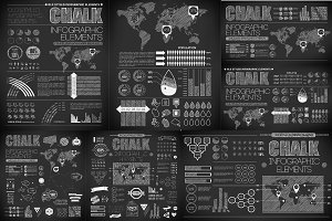 Set of chalk infographics