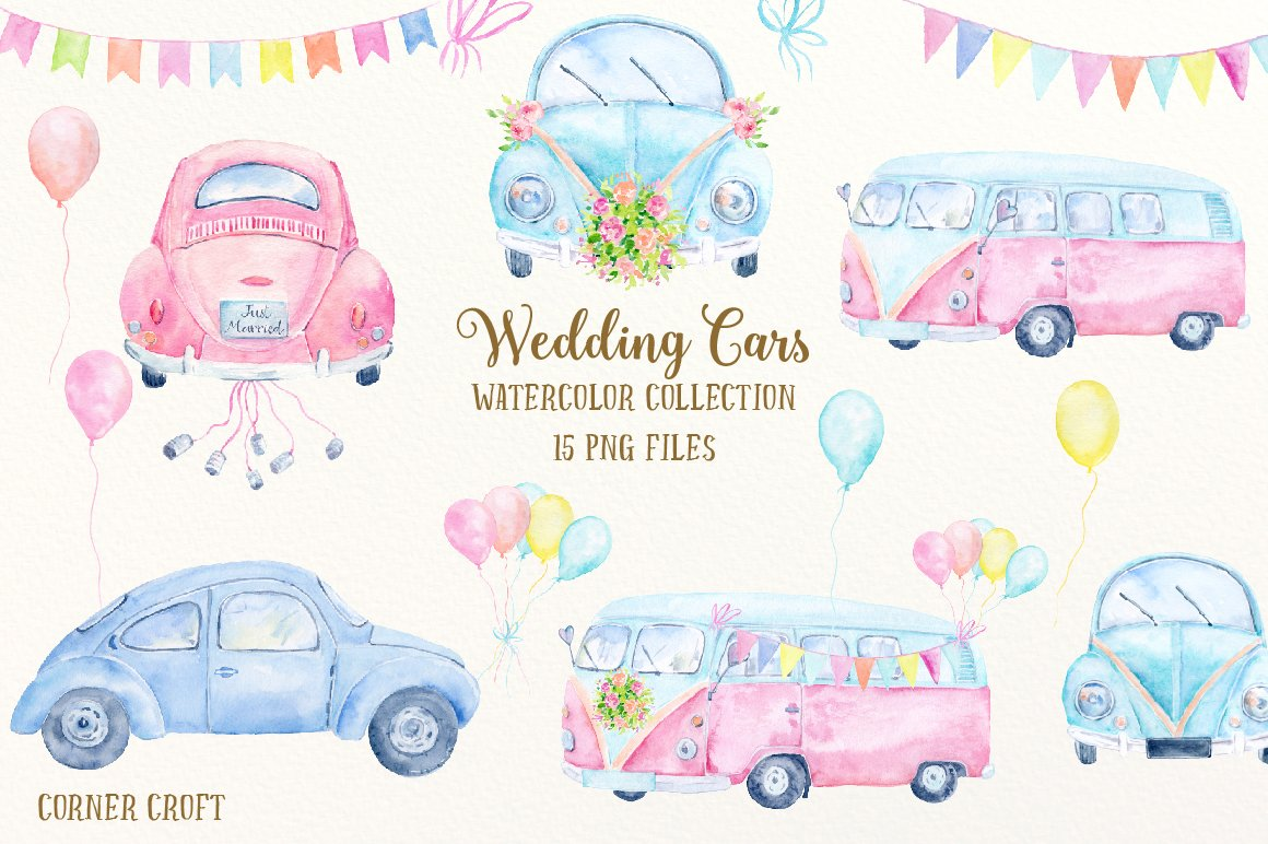 watercolor clipart wedding cars illustrations creative market