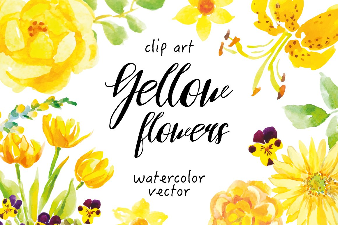Yellow flowers clip art illustrations creative market mightylinksfo
