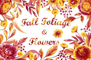Watercolor Fall Foliage and Flowers