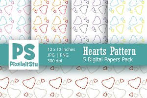 Hearts Pattern Digital Paper Pack