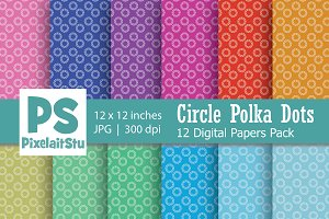 Circle Polka Dots Digital Paper