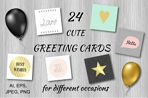 Hand drawn greeting cards.Vector