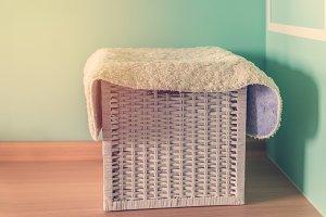 Bath towels in wicker basket