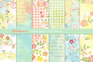 Wildflower Collage Digital Papers