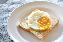 Fried egg on toast dish