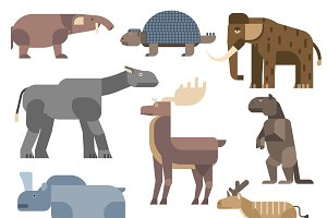 Ice age animals vector illustration