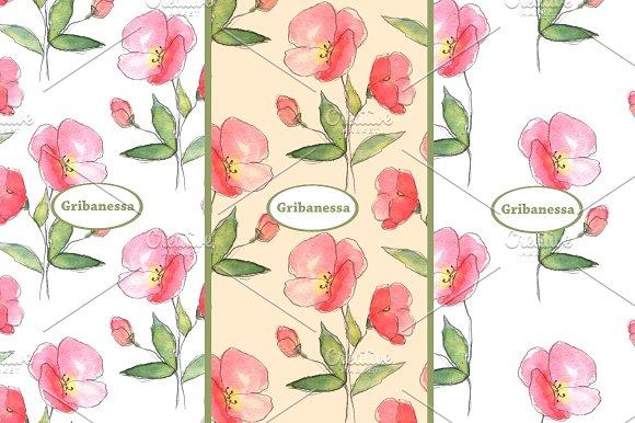 Floral sketch. Watercolor set  - Patterns