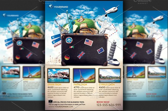 travel agency promotional flyer temp flyer templates creative market