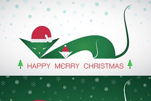 Vector merry christmas greeting cat.
