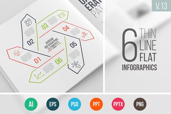 Linear elements for infographic v.13 in PowerPoint Templates