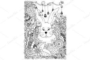 Doodle bunny sitting in garden
