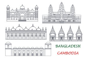 Cambodia and Bangladesh landmarks