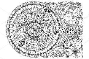 Doodle Mandala ladybugs flowers