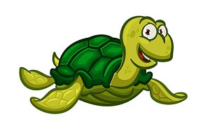Happy cartoon turtle