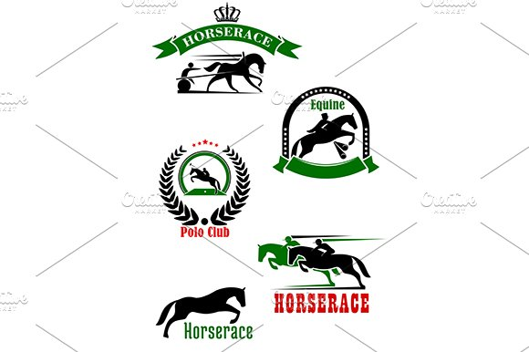 Horseracing dressage polo club icons