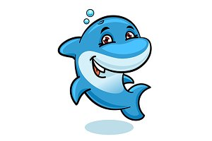 Cartoon blue bottlenose dolphin