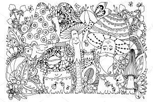 Doodle cartoon mushrooms, forest