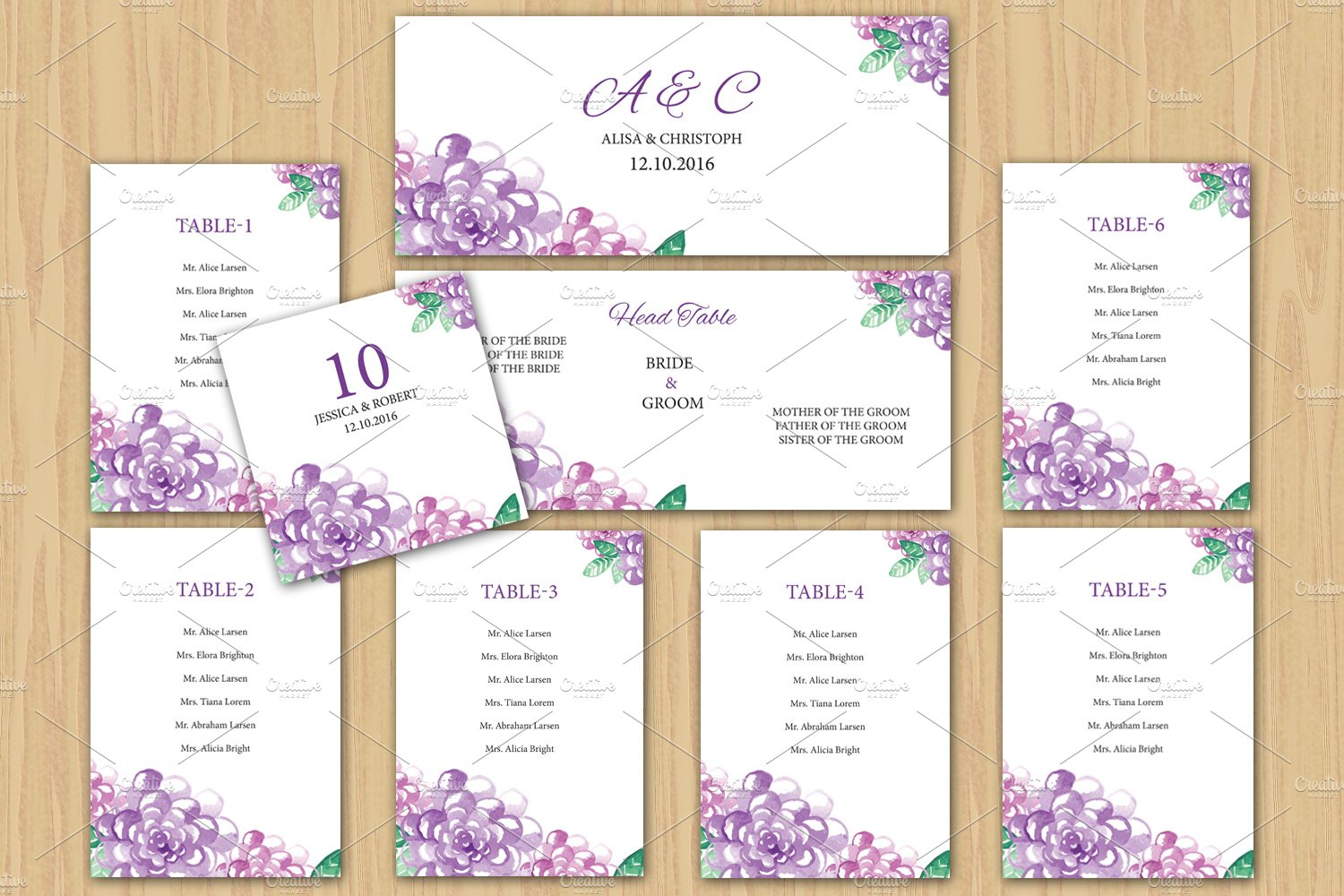 Wedding Seating Chart Template ~ Stationery Templates ~ Creative Market