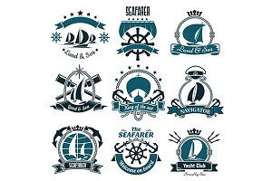 Sailing and yachting sports symbols