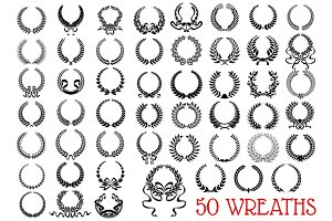 Black heraldic floral wreaths icons