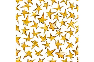 Seamless golden stars pattern