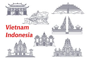 Ancient temples of Indonesia Vietnam