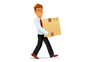 Businessman carrying a box