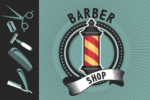 Barber shop emblem pole