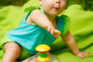 Toddler Baby Girl playing with toys