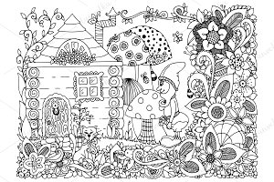 Doodle fairy tale house and Gnome.