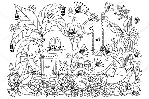 Doodle house in turnip flowers.