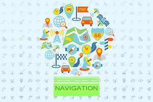 Navigation flat icons vector set