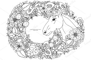 Doodle horse in flowers frame