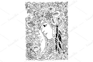 Doodle woman with flowers in hair