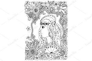 Doodle woman in floral frame